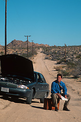 Man stranded in the desert with car trouble