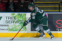 KELOWNA, CANADA - JANUARY 22: Dawson Leedahl #12 of the Everett Silvertips skates with the puck against the Kelowna Rockets on January 22, 2014 at Prospera Place in Kelowna, British Columbia, Canada.   (Photo by Marissa Baecker/Getty Images)  *** Local Caption *** Dawson Leedahl;