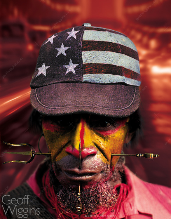 Digital technology magazine cover illustration depicting the effects of globalization upon indigenous peoples