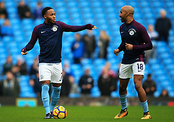 Raheem Sterling of Manchester City warms up with Fabian Delph - Mandatory by-line: Matt McNulty/JMP - 23/12/2017 - FOOTBALL - Etihad Stadium - Manchester, England - Manchester City v Bournemouth - Premier League