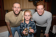 Isabella Watson, Monifieth Ladies under 11s players' player of the year pictured with Dundee United's Lewis Toshney and Simon Murray at Monifieth Ladies presentation evening at the Panmure Hotel, Monifieth - Photo: David Young, <br /> <br />  - &copy; David Young - www.davidyoungphoto.co.uk - email: davidyoungphoto@gmail.com