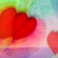 Three hearts is a blend of painting with digital photography. Art with Hearts, colorful happy art, original, expressive, acrylic and digital heart creations