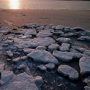 Sea ice on Plum Island, Newbury, Massachusetts