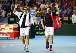 Great Britain's Andy Murray (right) and Jamie Murray celebrate victory over Argentina's Juan Martin Del Potro and Leonardo Mayer during day two of the Davis Cup at the Emirates Arena, Glasgow.