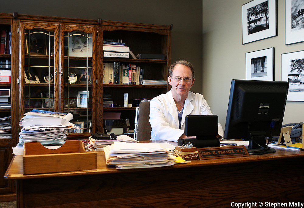 Dr. John Phillips in his office at Great River Medical Center in West Burlington, Iowa on Monday December 22, 2008.