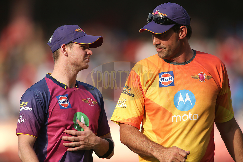 Rising Pune Supergiant captain Steven Smith &amp; Rising Pune Supergiant coach Stephen Fleming during match 4 of the Vivo 2017 Indian Premier League between the Kings XI Punjab and the Rising Pune Supergiant held at the Holkar Cricket Stadium in Indore, India on the 8th April 2017<br /> <br /> Photo by Shaun Roy - IPL - Sportzpics