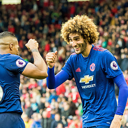 Marouane Fellaini of Manchester United congratulates goalscorer Antonio Valencia of Manchester United.Middlesborough v Manchester United, Barclays English Premier League, 19th March 2017. (c) Paul Cram | SportPix