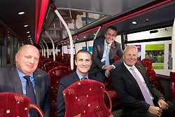 Richard Hall, managing director of Lothian (left), Michael Matheson, the Scottish Transport and Infrastructure Secretary, Colin Robertson, CEO of Alexander Dennis, and Nick Page, managing director of Volvo Bus, at launch of new bus built by Alexander Dennis of Falkirk. pic copyright Terry Murden @edinburghelitemedia