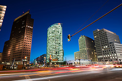Night skyline view of traffic at Potsdamer Platz in Berlin Germany