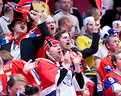 17.05.2012, Ericsson Globe, Stockholm, SWE, IIHF, Eishockey WM, Viertelfinale, Russland (RUS) vs Norwegen (NOR), im Bild Norweigan fans cheers // during the IIHF Icehockey World Championship Quarter Final Game between Russia (RUS) and Norway (NOR) at the Ericsson Globe, Stockholm, Sweden on 2012/05/17. EXPA Pictures © 2012, PhotoCredit: EXPA/ PicAgency Skycam/ Johan Andersson..***** ATTENTION - OUT OF SWE *****