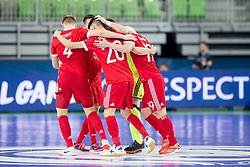 Players of Russia celebrate goal during futsal match between Russia and Poland at Day 1 of UEFA Futsal EURO 2018, on January 30, 2018 in Arena Stozice, Ljubljana, Slovenia. Photo by Ziga Zupan / Sportida