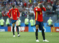 July 1, 2018 - Moscow, Russia - Round of 16 Russia v Spain - FIFA World Cup Russia 2018.Pique and Sergio Ramos (Spain) disappointment during the penalties at Luzhniki Stadium in Moscow, Russia on July 1, 2018. (Credit Image: © Matteo Ciambelli/NurPhoto via ZUMA Press)
