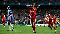 Photo: Paul Thomas.<br /> Chelsea v Liverpool. UEFA Champions League. Semi Final, 1st Leg. 25/04/2007.<br /> <br /> Dejected Steven Gerrard of Liverpool after he misses a great goal scoring chance.