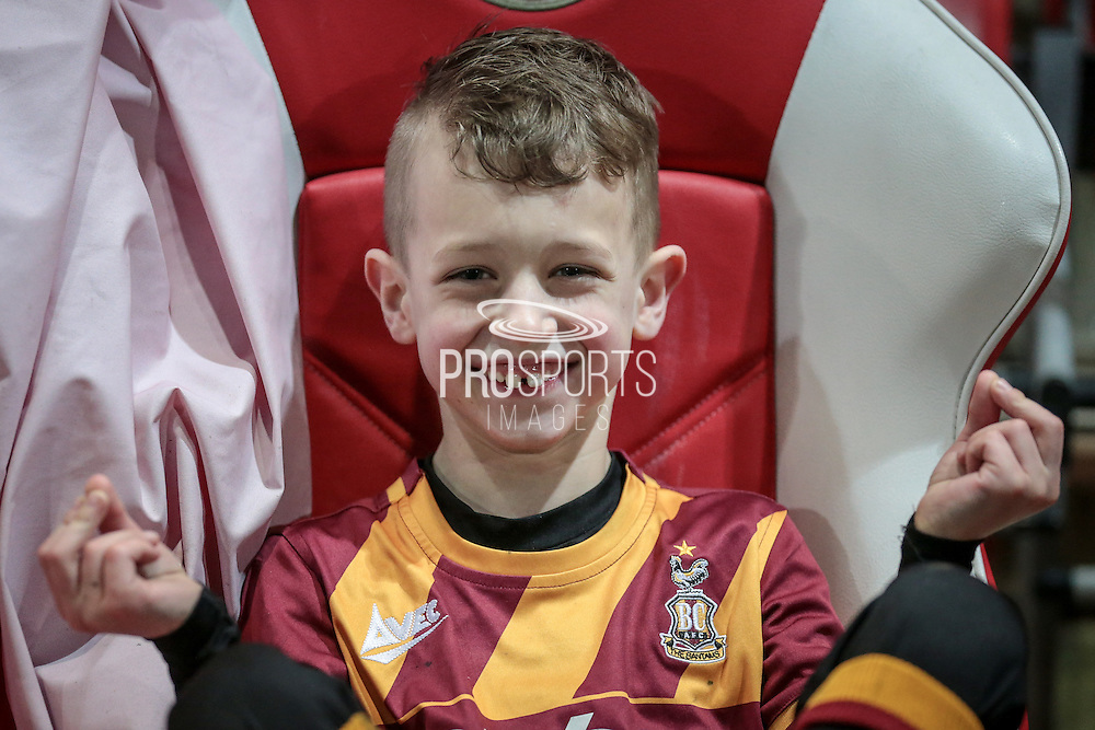 Young Bradford City fan Brandon Palmer crossing his fingers for a City win before the EFL Sky Bet League 1 match between Fleetwood Town and Bradford City at the Highbury Stadium, Fleetwood, England on 14 February 2017. Photo by Mark P Doherty.