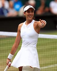 Garbine Muguruza celebrates beating Magdalena Rybarikova on day ten of the Wimbledon Championships at The All England Lawn Tennis and Croquet Club, Wimbledon.