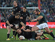 JOHANNESBURG, South Africa, 25 July 2015 : Israel Dagg of the All Blacks is tackled by Francois Louw and Jannie du Plessis of the Springboks with Conrad Smith of the All Blacks in support during the Castle Lager Rugby Championship test match between SOUTH AFRICA and NEW ZEALAND at Emirates Airline Park in Johannesburg, South Africa on 25 July 2015. Bokke 20 - 27 All Blacks<br /> <br /> © Anton de Villiers / SASPA