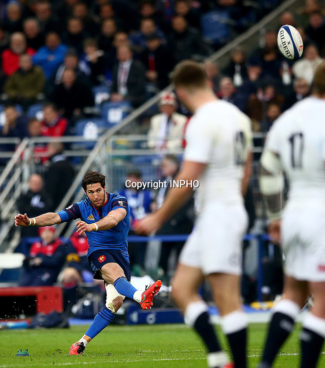 RBS 6 Nations Championship Round 5, Stade de France, Paris, France 19/3/2016<br /> France vs England<br /> France's Maxime Machenaud kicks<br /> Mandatory Credit &copy;INPHO/James Crombie