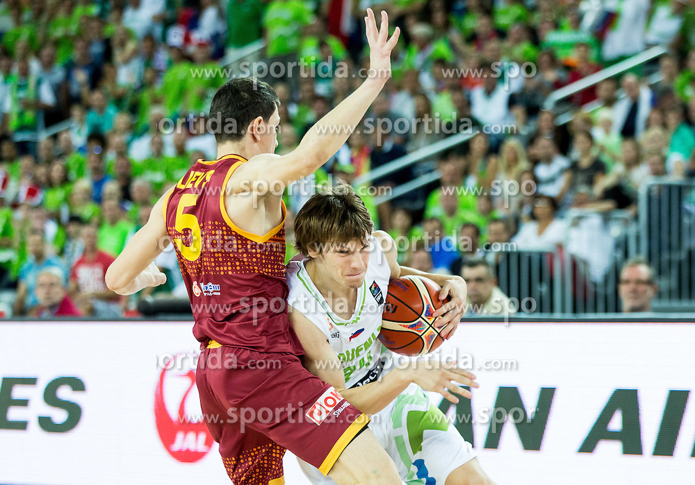 Vlado Ilievski of Macedonia vs Jaka Klobucar of Slovenia during basketball match between Slovenia and Macedonia at Day 6 in Group C of FIBA Europe Eurobasket 2015, on September 10, 2015, in Arena Zagreb, Croatia. Photo by Vid Ponikvar / Sportida