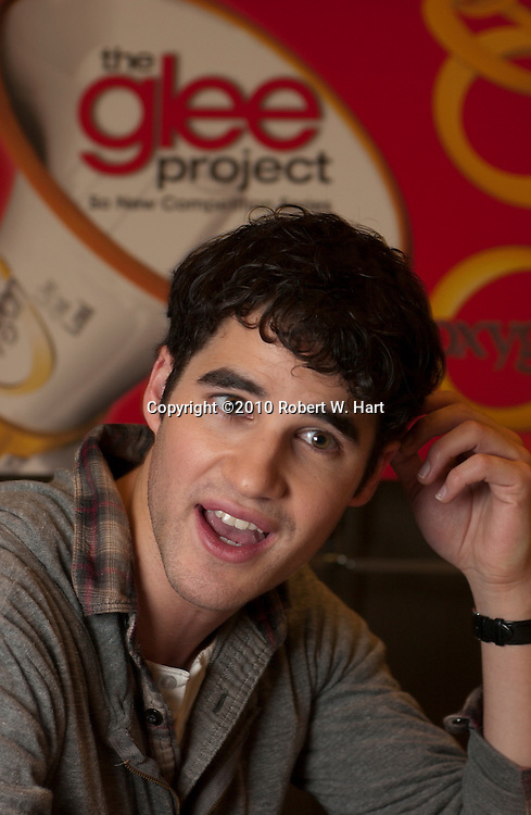 "Darren Criss, a cast member of the television show, ""Glee"", cheers for audition hopefuls before entering the Norris Conference Center in downtown Fort Worth Sunday January 9, 2011. Criss was promoting ""The Glee Project."""