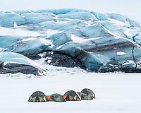 Camp at Svínafellsjökull glacier, Southeast Iceland.