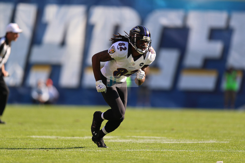 Baltimore Ravens wide receiver Torrey Smith (82) in action against the San Diego Chargers during an NFL game on Sunday, November 25, 2012 in San Diego, CA.  (Photo by Jed Jacobsohn)