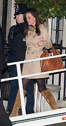 © London News Pictures. 05/12/2012. London, UK. Pippa Middleton, sister of Kate Middleton leaving King Edward VII Hospital  in London after visiting The Duchess Of Cambridge, who is currently being treated for a type of severe morning sickness called hyperemesis gravidarum. The royal couple announced the pregnancy on Monday. Photo credit: Ben Cawthra/LNP
