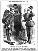 Napoleon III,  French Emperor 1852-1870, dressed as a rag-picker (Chiffonnier), warned off by Otto von Bismarck, the Prussian Chancellor. Napoleon's territorial ambitions led to Franco-Prussian War of 1870-71. John Tenniel cartoon from Punch, London, 25 August 1866.