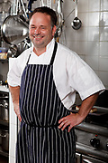 Chef Stephen Hitchings of Samphire Catering environmental portrait on site in his kitchen
