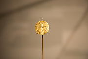 Gold sun-disc from Jug's grave, Monkton Farleigh. With permission of Wiltshire Museum, Devizes, England, UK.