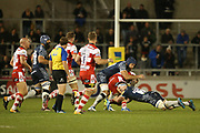 A Tarus tackles during the Aviva Premiership match between Sale Sharks and Gloucester Rugby at the AJ Bell Stadium, Eccles, United Kingdom on 29 September 2017. Photo by George Franks.