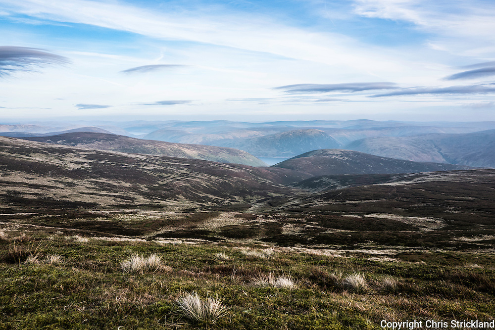 Looking south east towards Megget Reservoir from Broad Law in the South of Scotland.