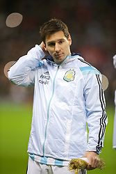 MANCHESTER, ENGLAND - Tuesday, November 18, 2014: Argentina's captain Lionel Messi before the International Friendly match against Portugal at Old Trafford. (Pic by David Rawcliffe/Propaganda)