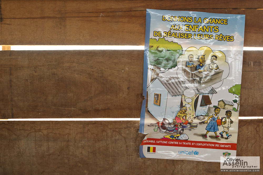 "Poster promoting child protection at the Podio primary school in the village of Podio, Bas-Sassandra region, Cote d'Ivoire on Friday March 2, 2012. The message in French says ""Let's give children a chance to fulfill their dreams."""