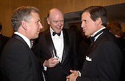 John Shaw, Secretary of the Treasury, Peter Grauer and Matt Winfield ( ? spelling) , Bloomberg Reception, Washington Correspondents dinner, Washington Hilton, 26 April 2003. © Copyright Photograph by Dafydd Jones 66 Stockwell Park Rd. London SW9 0DA Tel 020 7733 0108 www.dafjones.com