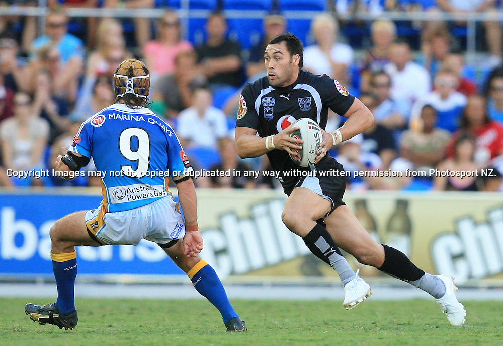 Wairangi Koopu in action during round 7 of the NRL - Gold Coast Titans v New Zealand Warriors. Played at Skilled Stadium, Robina QLD. Titans (36) defeated the Warriors (24).  Photo: Warren Keir (Photosport NZ).<br /> <br /> Use information: This image is intended for Editorial use only (e.g. news or commentary, print or electronic). Any commercial or promotional use requires additional clearance.