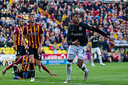 Vadaine Oliver of Northampton Town and Paudie O'Connor of Bradford City during the EFL Sky Bet League 2 match between Bradford City and Northampton Town at the Utilita Energy Stadium, Bradford, England on 7 September 2019.