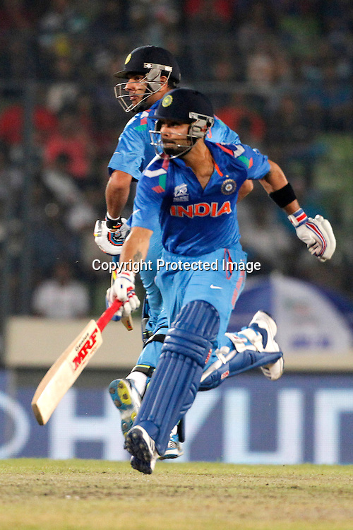 Virat Kohli and Yuvraj Singh, ICC T20 cricket World Cup Final - Sri Lanka v India, Sher-e-Bangla National Cricket Stadium, Mirpur, Bangladesh, 6 April 2014. Photo: www.photosport.co.nz