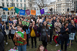 London, UK. 1st May, 2019. Climate protesters attend a Declare A Climate Emergency Now demonstration in Parliament Square organised to coincide with a motion in the House of Commons to declare an environment and climate emergency tabled by Leader of the Opposition Jeremy Corbyn. The motion, which does not legally compel the Government to act, was passed without a vote.