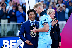 Ben Stokes of England receives his Man of the Match award from Sachin Tendulkar - Mandatory by-line: Robbie Stephenson/JMP - 14/07/2019 - CRICKET - Lords - London, England - England v New Zealand - ICC Cricket World Cup 2019 - Final