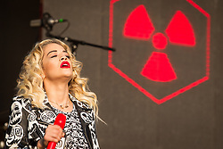 © Licensed to London News Pictures . 09/06/2013 . Heaton Park , Manchester , UK . Rita Ora performs on the main stage . Day 2 of the Parklife music festival in Manchester on Sunday 9th June 2013 . Photo credit : Joel Goodman/LNP