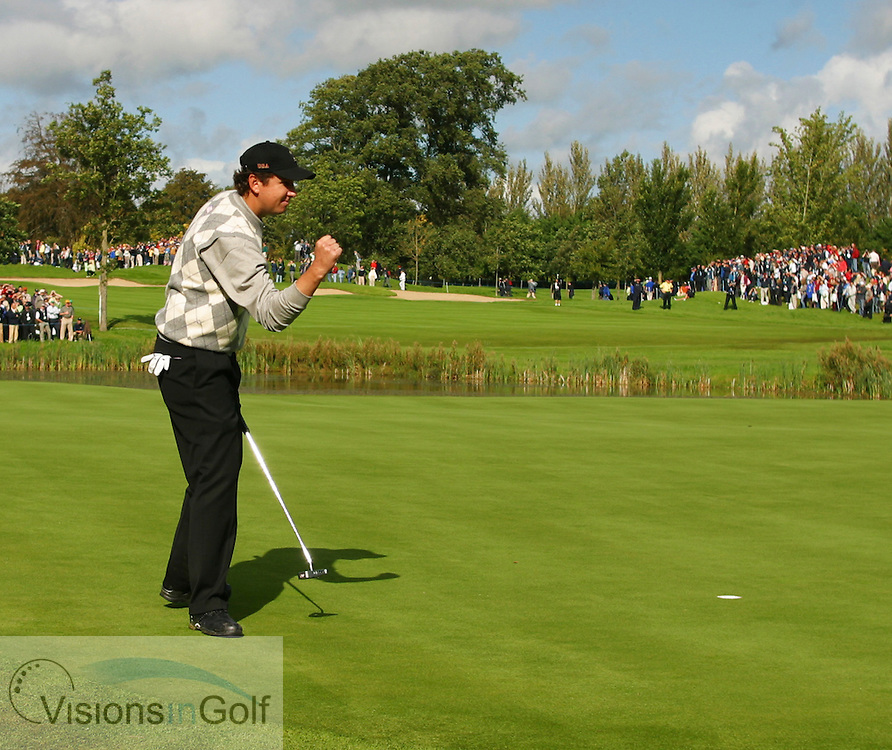 JJ Henry sinks a putt on the 12th on the first morning at the 36th Ryder Cup Matches 2006, K Club, Ireland, 060922<br /> Picture Credit: Mark Newcombe / visionsingolf.com