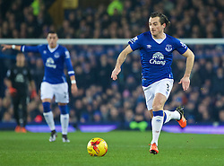 LIVERPOOL, ENGLAND - Wednesday, January 6, 2016: Everton's Leighton Baines in action against Manchester City during the Football League Cup Semi-Final 1st Leg match at Goodison Park. (Pic by David Rawcliffe/Propaganda)