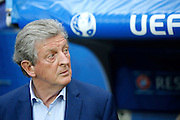 England Manager Roy Hodgson during the Round of 16 Euro 2016 match between England and Iceland at Stade de Nice, Nice, France on 27 June 2016. Photo by Andy Walter.