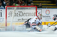 KELOWNA, CANADA - DECEMBER 5: Adin Hill #31 of Portland Winterhawks makes a save against the Kelowna Rockets on December 5, 2015 at Prospera Place in Kelowna, British Columbia, Canada.  (Photo by Marissa Baecker/Shoot the Breeze)  *** Local Caption *** Adin Hill;