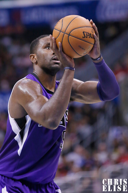 23 November 2013: Sacramento Kings power forward Patrick Patterson (9) is seen at the free throw line during the Los Angeles Clippers 103-102 victory over the Sacramento Kings at the Staples Center, Los Angeles, California, USA.