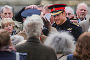 Prince Harry is greeted with a salute from a soldier he appears happy to see and returns it - The Duke of Edinburgh, Life Member, Royal British Legion, accompanied by Prince Harry, visit the Field of Remembrance at Westminster Abbey  - 10 November 2016, London.