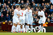 Liverpool midfielder James Milner scores during the Barclays Premier League match between Aston Villa and Liverpool at Villa Park, Birmingham, England on 14 February 2016. Photo by Simon Davies.