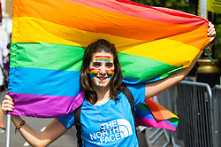 London, July 8th 2017. Thousands of LGBT+ revellers take part in the annual Pride in London parade under the banner #LoveHappensHere.