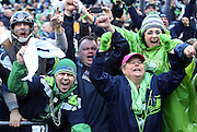 Seattle Seahawks fans celebrate wildly after a comeback win during the Seattle Seahawks NFL week 20 NFC Championship football game against the Green Bay Packers on Sunday, Jan. 18, 2015 in Seattle. The Seahawks won the game 28-22 in overtime. ©Paul Anthony Spinelli