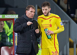 LONDON, ENGLAND - Saturday, February 14, 2015: Liverpool's manager Brendan Rodgers and Adam Lallana during the FA Cup 5th Round match against Crystal Palace at Selhurst Park. (Pic by David Rawcliffe/Propaganda)